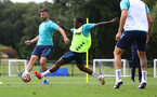 CARDIFF, WALES - JULY 29: Shane Long(L) and Michael Obafemi during a Southampton FC pre season training session at the Vale Resort, Vale of Glamorgan on July 29, 2021 in Cardiff, Wales. (Photo by Matt Watson/Southampton FC via Getty Images)