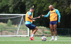 CARDIFF, WALES - JULY 29: Danny Ings(L) snd Nathan Redmond during a Southampton FC pre season training session at the Vale Resort, Vale of Glamorgan on July 29, 2021 in Cardiff, Wales. (Photo by Matt Watson/Southampton FC via Getty Images)