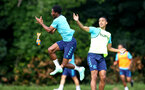 CARDIFF, WALES - JULY 29: Nathan Tella(L) misses a catch as Yan Valery looks on during a warm up exercise during a Southampton FC pre season training session at the Vale Resort, Vale of Glamorgan on July 29, 2021 in Cardiff, Wales. (Photo by Matt Watson/Southampton FC via Getty Images)