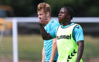 CARDIFF, WALES - JULY 29: Michael Obafemi during a Southampton FC pre season training session at the Vale Resort, Vale of Glamorgan on July 29, 2021 in Cardiff, Wales. (Photo by Matt Watson/Southampton FC via Getty Images)