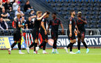 SWANSEA, WALES - JULY 31: Nathan Tella(centre) of Southampton is congratulated after scoring during the pre-season friendly match between Swansea City and Southampton FC, at The Liberty Stadium on July 31, 2021 in Swansea, Wales. (Photo by Matt Watson/Southampton FC via Getty Images)