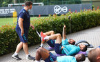 SOUTHAMPTON, ENGLAND - AUGUST 03: Players take part in a pre-activation session during a Southampton FC pre season training session at the Staplewood Campus on August 03, 2021 in Southampton, England. (Photo by Matt Watson/Southampton FC via Getty Images)