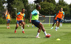 SOUTHAMPTON, ENGLAND - AUGUST 03: Theo Walcott(L) and Michael Obafemi during a Southampton FC pre season training session at the Staplewood Campus on August 03, 2021 in Southampton, England. (Photo by Matt Watson/Southampton FC via Getty Images)