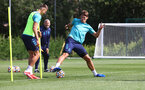 SOUTHAMPTON, ENGLAND - AUGUST 03: Jan Bednarek(L) and Jannik Vestergaard during a Southampton FC pre season training session at the Staplewood Campus on August 03, 2021 in Southampton, England. (Photo by Matt Watson/Southampton FC via Getty Images)