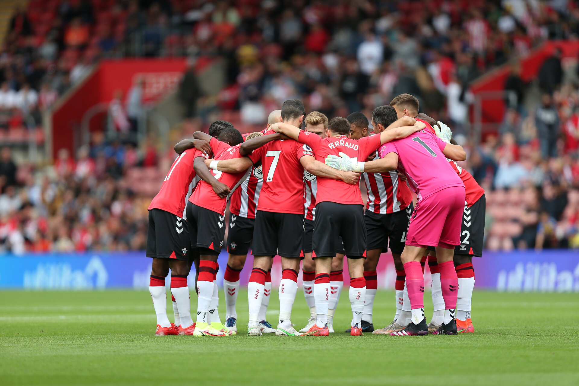 SOUTHAMPTON, ENGLAND - AUGUST 7: Saints huddle during the pre-season friendly match between Southampton and Athletic Club at St Mary's Stadium on August 7th, 2021, in Southampton, United Kingdom. (Photo by Chris Moorhouse/Southampton FC via Getty Images)
