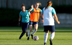 SOUTHAMPTON, ENGLAND - AUGUST 10: Sara Luce(L) and Ella Pusey(R) during Southampton women's pre season training session at Staplewood Training Ground on August 10, 2021 in Southampton, England. (Photo by Isabelle Field/Southampton FC via Getty Images)