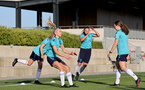 SOUTHAMPTON, ENGLAND - AUGUST 10: Phoebe Williams(L) and Shannon Sievwright(R) during Southampton women's pre season training session at Staplewood Training Ground on August 10, 2021 in Southampton, England. (Photo by Isabelle Field/Southampton FC via Getty Images)