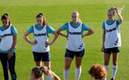 SOUTHAMPTON, ENGLAND - AUGUST 10: Laura Rafferty(L), Ella Morris, Catilin Morris and Phoebe Williams(R) during Southampton women's pre season training session at Staplewood Training Ground on August 10, 2021 in Southampton, England. (Photo by Isabelle Field/Southampton FC via Getty Images)