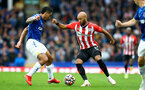 LIVERPOOL, ENGLAND - AUGUST 14: Allen(L) of Everton and Nathan Redmond (R) of Southampton during the Premier League match between Everton  and  Southampton at Goodison Park on August 14, 2021 in Liverpool, England. (Photo by Matt Watson/Southampton FC via Getty Images)