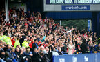 LIVERPOOL, ENGLAND - AUGUST 14: Southampton fans celebrates Adam Armstrong opening the scoring during the Premier League match between Everton  and  Southampton at Goodison Park on August 14, 2021 in Liverpool, England. (Photo by Matt Watson/Southampton FC via Getty Images)