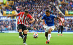 LIVERPOOL, ENGLAND - AUGUST 14: Oriol Romeu(L) of Southampton and Allan(R) of Everton during the Premier League match between Everton  and  Southampton at Goodison Park on August 14, 2021 in Liverpool, England. (Photo by Matt Watson/Southampton FC via Getty Images)