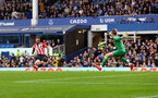 LIVERPOOL, ENGLAND - AUGUST 14: Adam Armstrong(L) of Southampton opens the scoring for Southampton on his debut during the Premier League match between Everton  and  Southampton at Goodison Park on August 14, 2021 in Liverpool, England. (Photo by Matt Watson/Southampton FC via Getty Images)