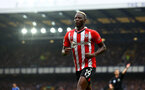 LIVERPOOL, ENGLAND - AUGUST 14: Moussa Djenepo of Southampton during the Premier League match between Everton  and  Southampton at Goodison Park on August 14, 2021 in Liverpool, England. (Photo by Matt Watson/Southampton FC via Getty Images)