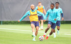 SOUTHAMPTON, ENGLAND - AUGUST 17: Nathan Redmond(L) and Ibrahima Diallo during a Southampton FC training session at Staplewood Campus on August 17, 2021 in Southampton, England. (Photo by Matt Watson/Southampton FC via Getty Images)