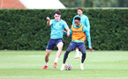 SOUTHAMPTON, ENGLAND - AUGUST 17: Tino Livramento(L) and Kyle Walker-Peters during a Southampton FC training session at Staplewood Campus on August 17, 2021 in Southampton, England. (Photo by Matt Watson/Southampton FC via Getty Images)