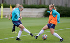 SOUTHAMPTON, ENGLAND - AUGUST 17: Ella Pusey(L) and Catilin Morris(R) during Southampton Women's training session at  Staplewood Training Ground on August 17, 2021 in Southampton, England. (Photo by Isabelle Field/Southampton FC via Getty Images)