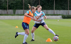 SOUTHAMPTON, ENGLAND - AUGUST 17: Shelly Provan(L) and Lucia Kendall(R) during Southampton Women's training session at  Staplewood Training Ground on August 17, 2021 in Southampton, England. (Photo by Isabelle Field/Southampton FC via Getty Images)