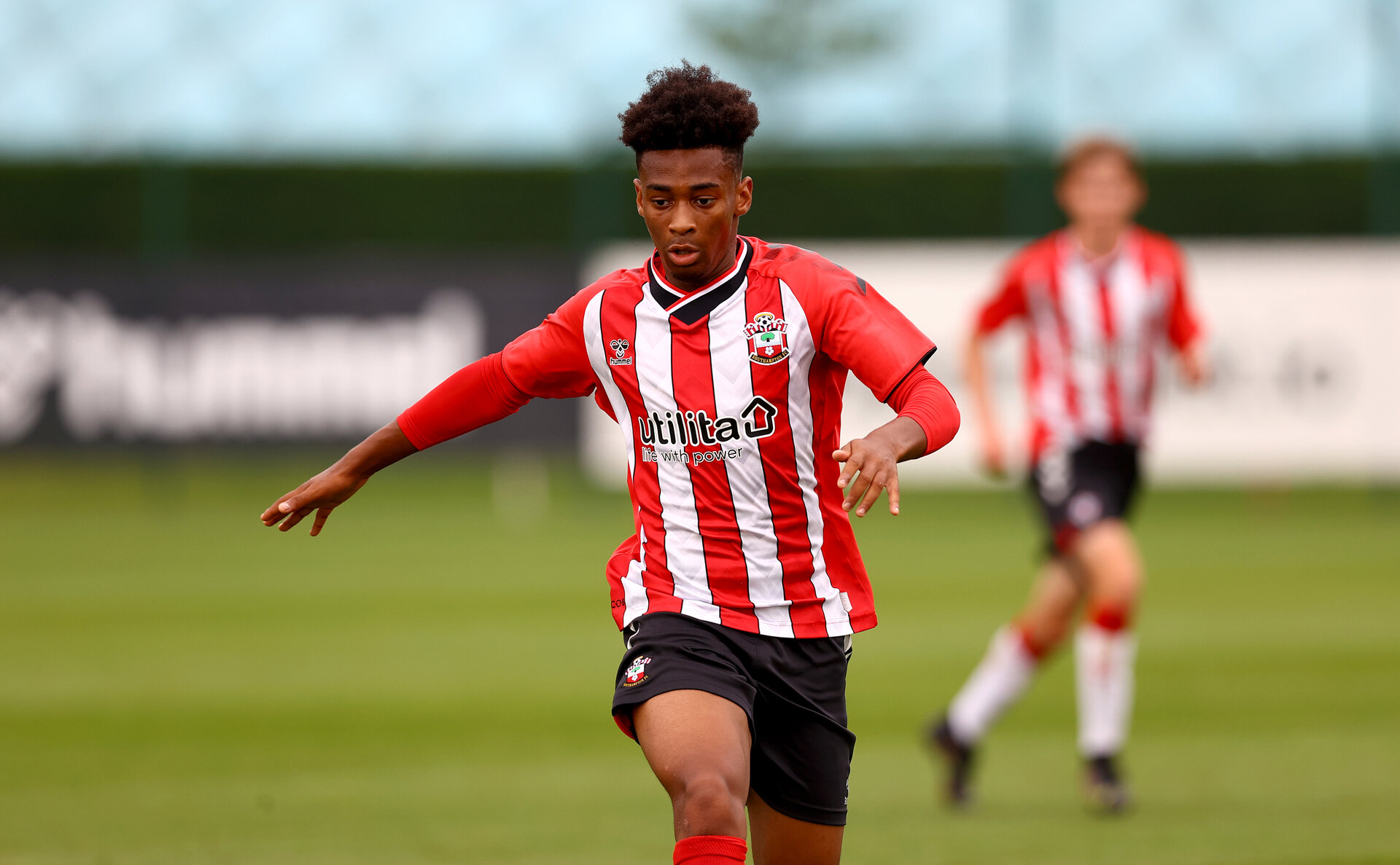 SOUTHAMPTON, ENGLAND - AUGUST 21: Fedel Ross-Lang during the U18 PL match between Southampton FC U18 and Birmingham City U18, at the Staplewood Campus on August 21, 2021 in Southampton, England. (Photo by Matt Watson/Southampton FC)