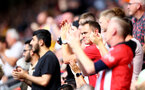 SOUTHAMPTON, ENGLAND - AUGUST 22: Southampton fans during the Premier League match between Southampton  and  Manchester United at St Mary's Stadium on August 22, 2021 in Southampton, England. (Photo by Isabelle Field/Southampton FC via Getty Images)