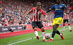 SOUTHAMPTON, ENGLAND - AUGUST 22: Adam Armstrong during the Premier League match between Southampton and Manchester United at St Mary's Stadium on August 22, 2021 in Southampton, England. (Photo by Chris Moorhouse/Southampton FC via Getty Images)