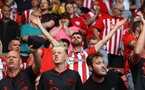 SOUTHAMPTON, ENGLAND - AUGUST 22: Fans of during the Premier League match between Southampton  and  Manchester United at St Mary's Stadium on August 22, 2021 in Southampton, England. (Photo by Matt Watson/Southampton FC via Getty Images)