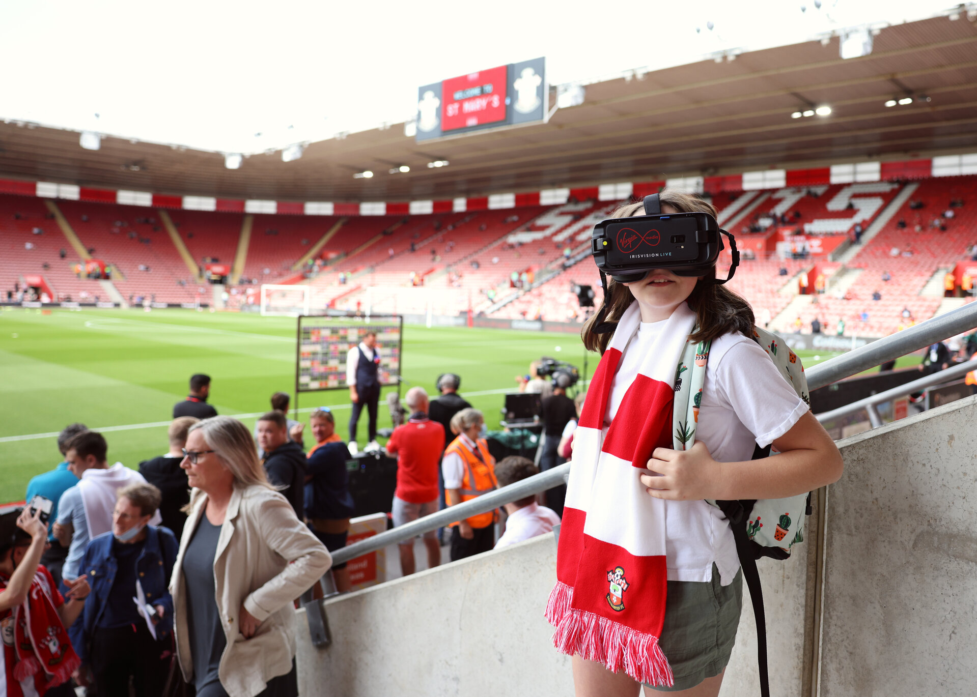 SOUTHAMPTON, ENGLAND - AUGUST 22, 2021:  Virgin Media, proud sponsor of Southampton FC, teamed up with the Premier League club and VisionAid to surprise Joshua (15 years old) and Florence (11 years old) with innovative technology at a special experience during the Southampton V Manchester United match at St Mary's Stadium on August 15, 2021 in Manchester, England.