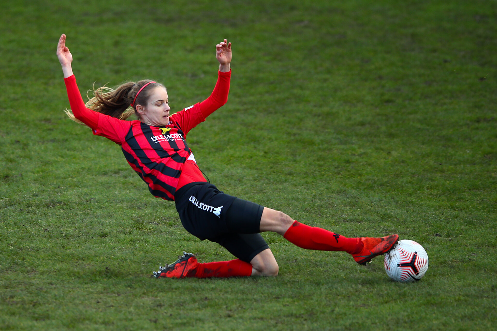 LEWES, ENGLAND - JANUARY 24: Katie Rood of Lewes in action during the FA Women's Championship match between Lewes and Sheffield United at The Dripping Pan on January 24, 2021 in Lewes, England. Sporting stadiums around England remain under strict restrictions due to the Coronavirus Pandemic as Government social distancing laws prohibit fans inside venues resulting in games being played behind closed doors. (Photo by Bryn Lennon/Getty Images)