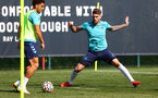 SOUTHAMPTON, ENGLAND - AUGUST 26: Che Adams(L) and Lyanco during a Southampton FC training session at the Staplewood Campus on August 26, 2021 in Southampton, England. (Photo by Matt Watson/Southampton FC via Getty Images)