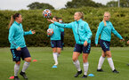 SOUTHAMPTON, ENGLAND - AUGUST 31: Shannon Sievwright(L) and Catilin Morris(R) during Southampton Women's training session at  Staplewood Training Ground on August 31, 2021 in Southampton, England. (Photo by Isabelle Field/Southampton FC via Getty Images)