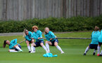 SOUTHAMPTON, ENGLAND - AUGUST 31: Laura Rafferty(L), Ciara Watling, Molly Mott and Ella Morris(R) during Southampton Women's training session at  Staplewood Training Ground on August 31, 2021 in Southampton, England. (Photo by Isabelle Field/Southampton FC via Getty Images)