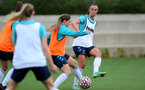 SOUTHAMPTON, ENGLAND - AUGUST 31: Georgie Freeland(L) and Laura Rafferty(R) during Southampton Women's training session at  Staplewood Training Ground on August 31, 2021 in Southampton, England. (Photo by Isabelle Field/Southampton FC via Getty Images)