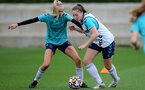 SOUTHAMPTON, ENGLAND - AUGUST 31: Phoebe Williams(L) and Ella Morris(R) during Southampton Women's training session at  Staplewood Training Ground on August 31, 2021 in Southampton, England. (Photo by Isabelle Field/Southampton FC via Getty Images)