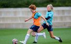 SOUTHAMPTON, ENGLAND - AUGUST 31: Molly Mott(L) and Phoebe Williams(R) during Southampton Women's training session at  Staplewood Training Ground on August 31, 2021 in Southampton, England. (Photo by Isabelle Field/Southampton FC via Getty Images)