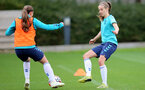 SOUTHAMPTON, ENGLAND - AUGUST 31: Katie Rood(R) during Southampton Women's training session at  Staplewood Training Ground on August 31, 2021 in Southampton, England. (Photo by Isabelle Field/Southampton FC via Getty Images)