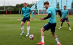 SOUTHAMPTON, ENGLAND - SEPTEMBER 01: Ryan Finnagan(L) and Lyanco Vojnovic(R) during Southampton training session at Staplewood Complex on September 01, 2021 in Southampton, England. (Photo by Isabelle Field/Southampton FC via Getty Images)