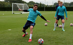 SOUTHAMPTON, ENGLAND - SEPTEMBER 01: Lyanco Vojnovic(L) during Southampton training session at Staplewood Complex on September 01, 2021 in Southampton, England. (Photo by Isabelle Field/Southampton FC via Getty Images)
