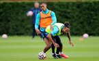 SOUTHAMPTON, ENGLAND - SEPTEMBER 01: Yan Valery(L) and Theo Walcott(R) during Southampton training session at Staplewood Complex on September 01, 2021 in Southampton, England. (Photo by Isabelle Field/Southampton FC via Getty Images)