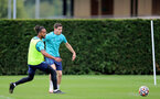 SOUTHAMPTON, ENGLAND - SEPTEMBER 01: Theo Walcott(L) and Romain Perraud(R) during Southampton training session at Staplewood Complex on September 01, 2021 in Southampton, England. (Photo by Isabelle Field/Southampton FC via Getty Images)