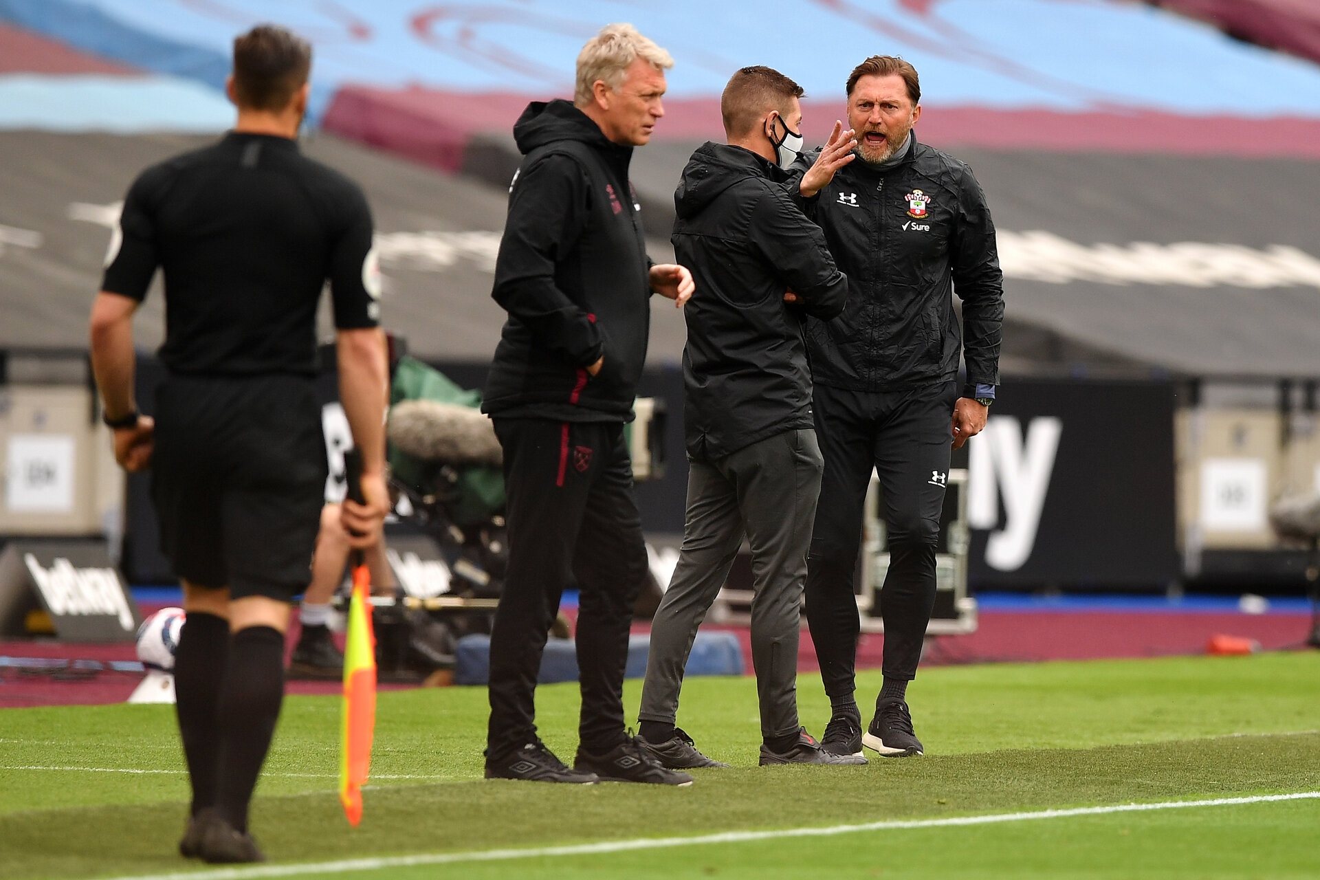 LONDON, ENGLAND - MAY 23: Ralph Hasenhuttl, Manager of Southampton reacts during the Premier League match between West Ham United and Southampton at London Stadium on May 23, 2021 in London, England. A limited number of fans will be allowed into Premier League stadiums as Coronavirus restrictions begin to ease in the UK. (Photo by Justin Tallis - Pool/Getty Images)