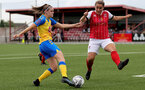 CHELTENHAM, ENGLAND - SEPTEMBER 12: Ella Pusey(L) of Southampton during the Women's FA National League Cup match between  Cheltenham Town and  Southampton Women at The Corinium Stadium on September 12, 2021 in  Cheltenham, England. (Photo by Isabelle Field/Southampton FC via Getty Images)