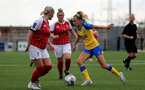 CHELTENHAM, ENGLAND - SEPTEMBER 12: Phoebe Williams(R) of Southampton during the Women's FA National League Cup match between  Cheltenham Town and  Southampton Women at The Corinium Stadium on September 12, 2021 in  Cheltenham, England. (Photo by Isabelle Field/Southampton FC via Getty Images)