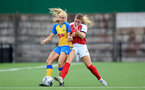 CHELTENHAM, ENGLAND - SEPTEMBER 12: Caitlin Morris(L) of Southampton during the Women's FA National League Cup match between  Cheltenham Town and  Southampton Women at The Corinium Stadium on September 12, 2021 in  Cheltenham, England. (Photo by Isabelle Field/Southampton FC via Getty Images)