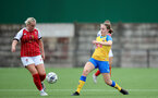CHELTENHAM, ENGLAND - SEPTEMBER 12: Lucia Kendall(R) of Southampton during the Women's FA National League Cup match between  Cheltenham Town and  Southampton Women at The Corinium Stadium on September 12, 2021 in  Cheltenham, England. (Photo by Isabelle Field/Southampton FC via Getty Images)