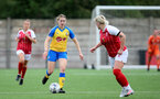 CHELTENHAM, ENGLAND - SEPTEMBER 12: Lucia Kendall(L) of Southampton during the Women's FA National League Cup match between  Cheltenham Town and  Southampton Women at The Corinium Stadium on September 12, 2021 in  Cheltenham, England. (Photo by Isabelle Field/Southampton FC via Getty Images)