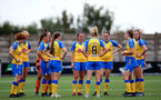 CHELTENHAM, ENGLAND - SEPTEMBER 12: Southampton players during the Women's FA National League Cup match between  Cheltenham Town and  Southampton Women at The Corinium Stadium on September 12, 2021 in  Cheltenham, England. (Photo by Isabelle Field/Southampton FC via Getty Images)