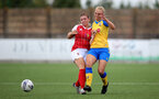 CHELTENHAM, ENGLAND - SEPTEMBER 12: Rosie Parnell(R) of Southampton during the Women's FA National League Cup match between  Cheltenham Town and  Southampton Women at The Corinium Stadium on September 12, 2021 in  Cheltenham, England. (Photo by Isabelle Field/Southampton FC via Getty Images)