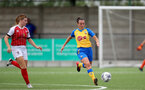 CHELTENHAM, ENGLAND - SEPTEMBER 12: Leeta Rutherford(R) of Southampton during the Women's FA National League Cup match between  Cheltenham Town and  Southampton Women at The Corinium Stadium on September 12, 2021 in  Cheltenham, England. (Photo by Isabelle Field/Southampton FC via Getty Images)