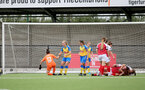 CHELTENHAM, ENGLAND - SEPTEMBER 12: Cheltenham celebrate scoring their second goal during the Women's FA National League Cup match between  Cheltenham Town and  Southampton Women at The Corinium Stadium on September 12, 2021 in  Cheltenham, England. (Photo by Isabelle Field/Southampton FC via Getty Images)