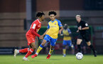 LONDON, ENGLAND - SEPTEMBER 14: Kamari Doyle(R) of Southampton during the Papa John's Trophy match between Leyton Orient and Southampton B Team at Breyer Group Stadium on September 14, 2021 in London, England. (Photo by Isabelle Field/Southampton FC via Getty Images)