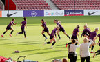 SOUTHAMPTON, ENGLAND - SEPTEMBER 16: England Women's squad during England Women's training session at St Mary's Stadium on September 16, 2021 in Southampton, England. (Photo by Isabelle Field/Southampton FC via Getty Images)